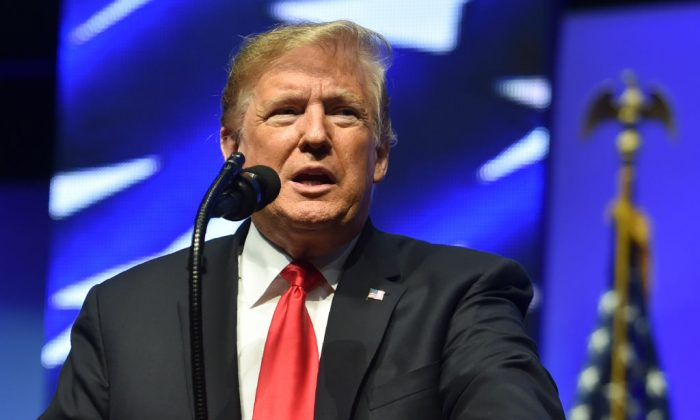 President Donald Trump speaks at the Future Farmers of America convention  in Indianapolis, Indiana, on Oct. 27, 2018. (Nicholas Kamm/AFP/Getty Images)