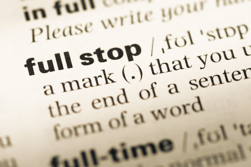 Only when the full stop arrives can the meaning of a sentence be fulfilled. (Shutterstock)