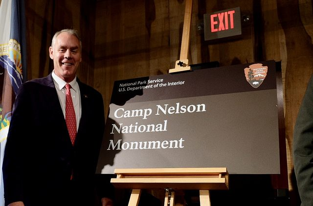 Secretary of the Interior Ryan Zinke at Camp Nelson, Kentucky on Oct. 27, 2018. (Tami Heilemann/Department of the Interior)