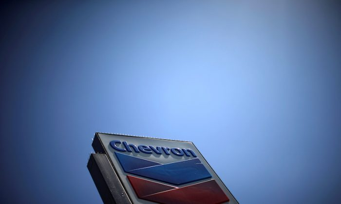 The logo of Chevron (CVX) is seen in Los Angeles, California, on April 12, 2016. (Reuters/Lucy Nicholson)