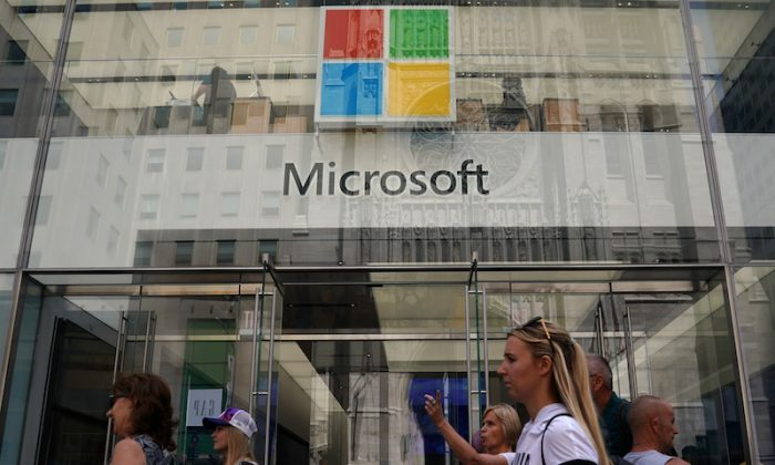 A Microsoft store is pictured in New York City, New York, on Aug. 21, 2018. (Reuters/Carlo Allegri)