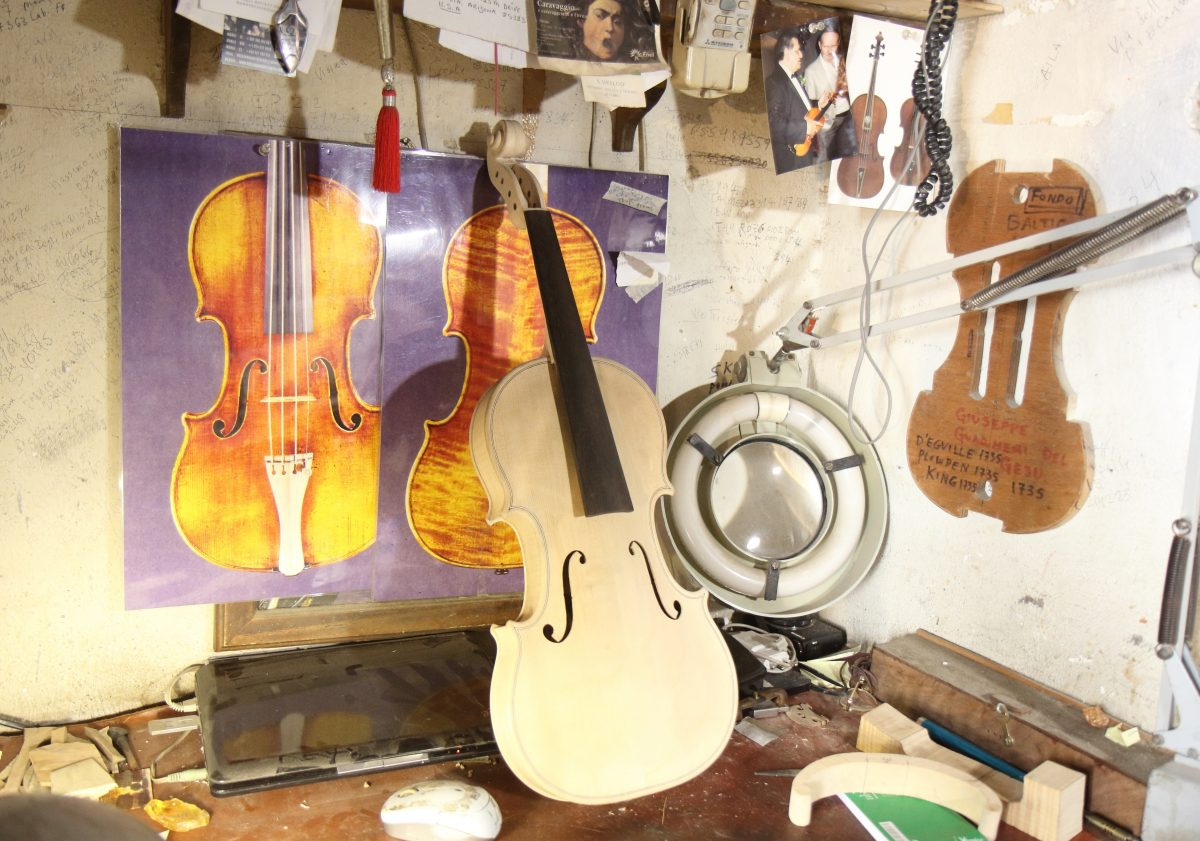 Violin handmade before varnish