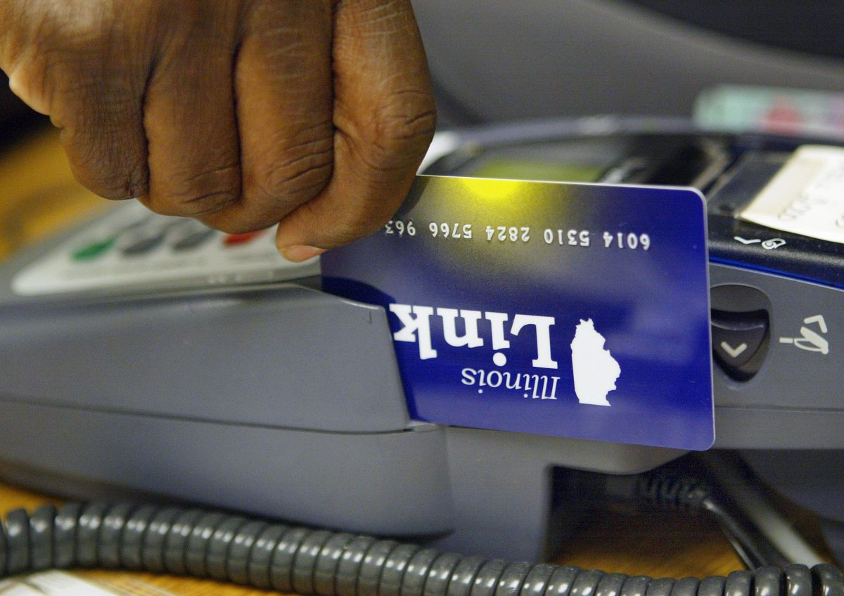 An Illinois Link card, an electronic debit-like card used to draw on food stamp benefits in Skokie