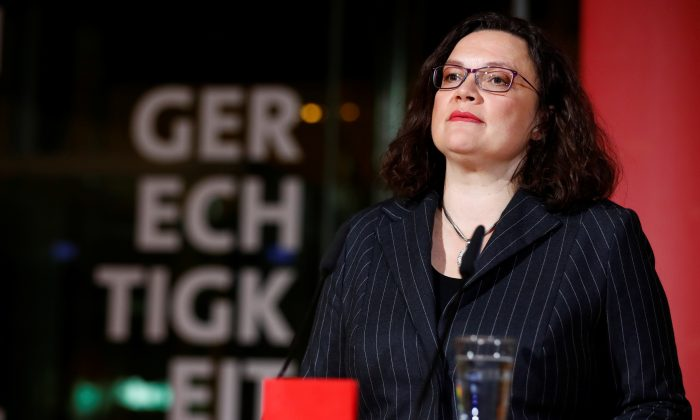 German Social Democratic Party (SPD) leader Andrea Nahles reacts on first exit polls following the Hesse state election in Berlin, Germany, October 28, 2018. (Hannibal Hanschke/Reuters)