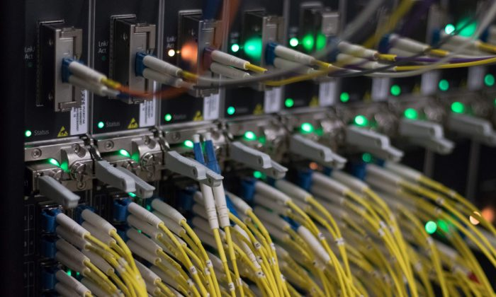 Cables on servers at an internet data center in Frankfurt am Main, western Germany, on July 25, 2018. (YANN SCHREIBER/AFP/Getty Images)