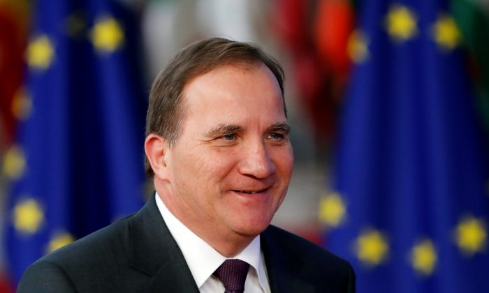 Sweden's Prime Minister Stefan Lofven arrives at a European Union leaders summit in Brussels, Belgium, on Oct. 17, 2018. (Reuters/Yves Herman)