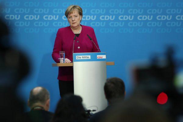 German Chancellor Angela Merkel speaks