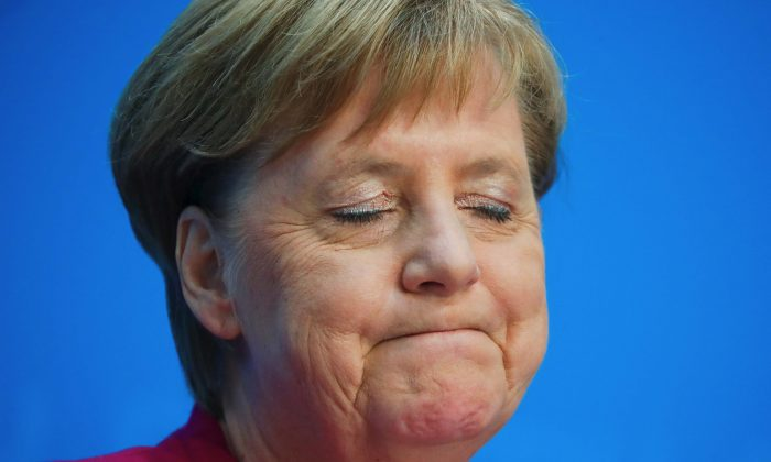 German Chancellor Angela Merkel reacts as she at a news conference following the Hesse State election in Berlin, on Oct. 29, 2018. (Hannibal Hanschke/Reuters)