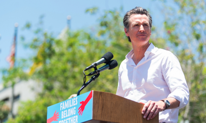Gavin Newsom attends 'Families Belong Together  - Freedom for Immigrants March Los Angeles' at Los Angeles City Hall on June 30, 2018 in Los Angeles, California.  (Photo by Emma McIntyre/Getty Images for Families Belong Together LA)