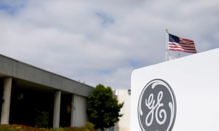 The logo of General Electric is shown at their subsidiary company GE Aviation in Santa Ana, California, U.S. on April 13, 2016. (Mike Blake/File Photo/Reuters)