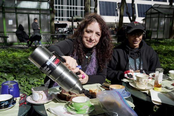 Liz Gannon-Graydon pouring a cup of tea