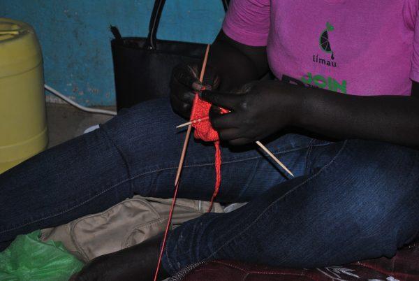Millicent Kagonga knits a prosthetic