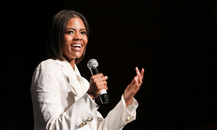 Candace Owens, an American conservative commentator and activist, speaks at the High School Leadership Summit, a Turning Point USA event, at George Washington University in Washington on July 26, 2018. (Samira Bouaou/The Epoch Times)