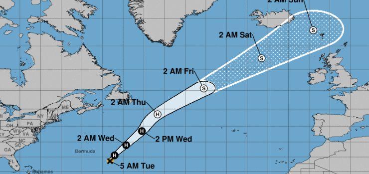 hurricane oscar path in atlantic