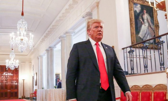 President Donald Trump arrives at the White House on Aug. 22, 2018. (Samira Bouaou/The Epoch Times)