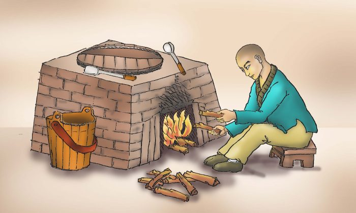 The young monk had to do chores like fetching water, making fire, cooking, and cleaning every day. (Illustration by Sun Mingguo/The Epoch Times)