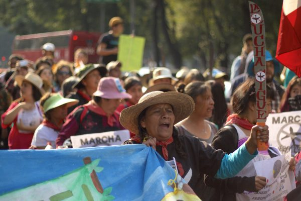 Hundreds marched against the construction of the new airport in Mexico City.