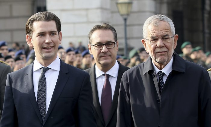 Austria's Chancellor Sebastian Kurz, Austrian Vice Chancellor Heinz-Christian Strache and Austrian President Alexander Van Der Bellen, from left, review recruits on the occasion of national holiday celebrations at Vienna's Heldenplatz, Austria, on Oct. 26, 2018. (AP Photo/Ronald Zak)
