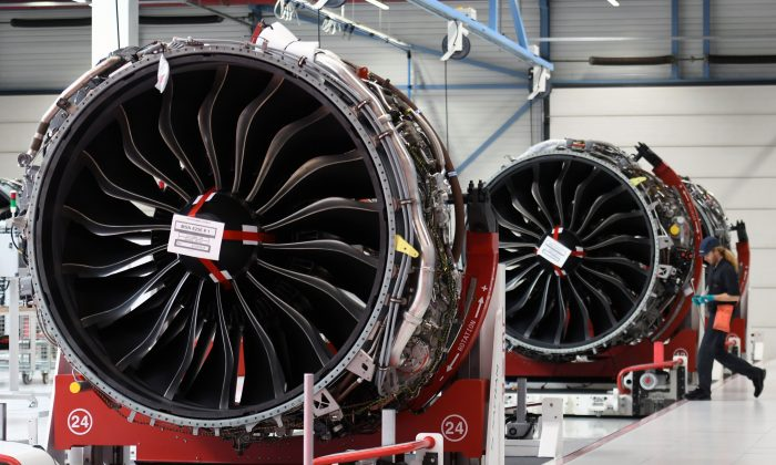 Aircraft engines at an industrial and technological engine manufacturer in France on May 17, 2018. (Pascal Pavani/AFP/Getty Images)