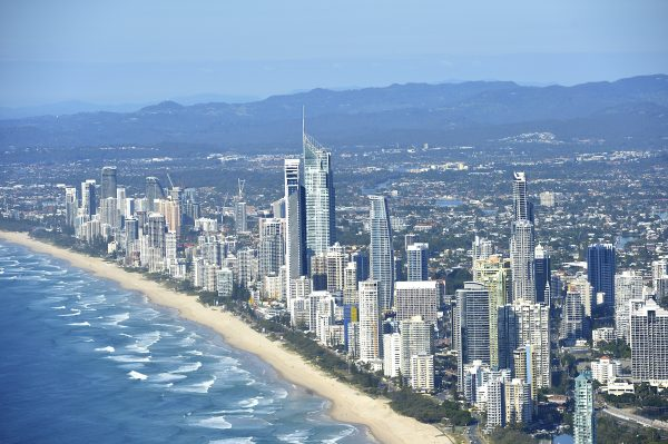 An aerial view of Gold Coast, Australia.