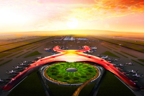 An artist's rendering of the airport as it would have been built in Texcoco.