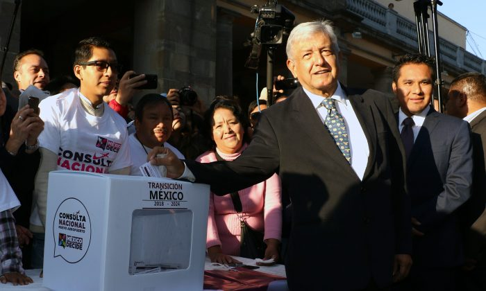 Mexico's President-elect Andres Manuel Lopez Obrador votes in a referendum on whether to continue construction on a new airport on Oct. 25, 2018. (Courtesy of the Andres Manuel Lopez Obrador transition team)