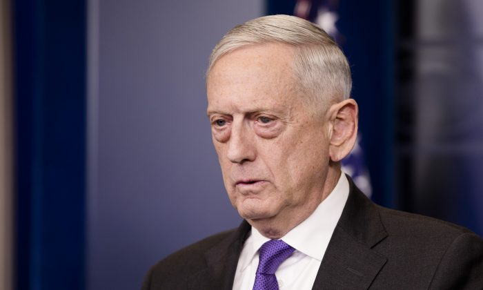 Secretary of Defense Jim Mattis speaks during a press briefing on Feb. 7, 2018. (Samira Bouaou/The Epoch Times)