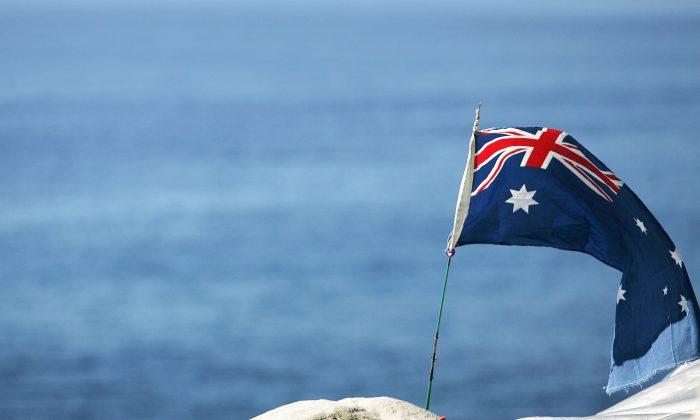 An Australian flag on the coast of Tasman Sea in Australia in this file photo. (Matt King/Getty Images)