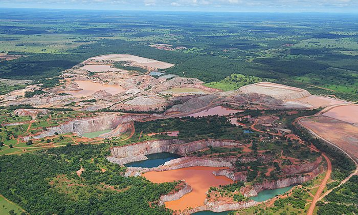 Aerial view of mining activity, at the Pantanal wetlands, in Mato Grosso state, Brazil, on March 8, 2018. The Pantanal is the largest wetland on the planet and is home to more than 4,000 species of plants and animals. (Carl De Souza/AFP/Getty Images)