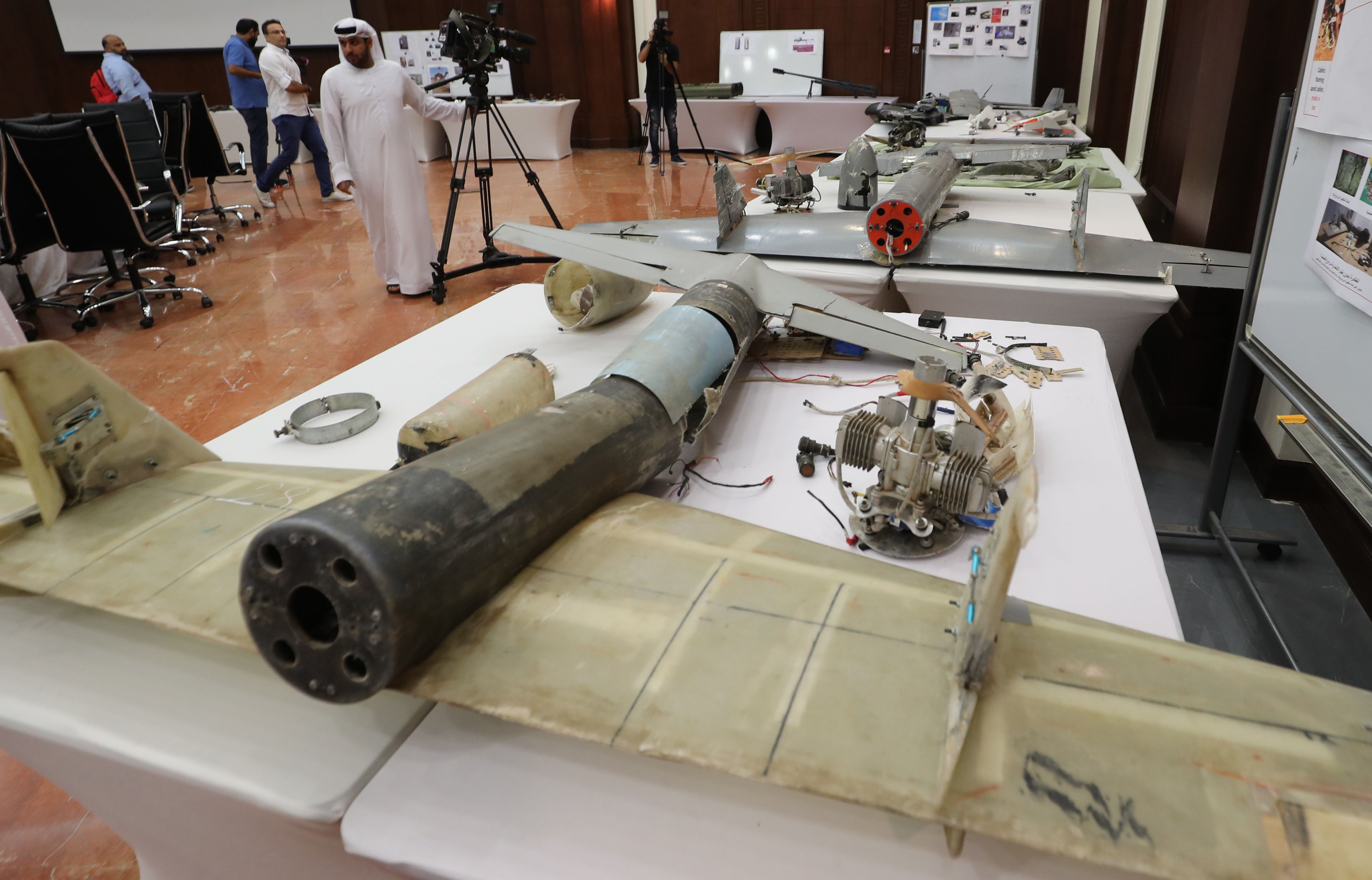 Debris of Iranian-made Ababil drones in Abu Dhabi on June 19, 2018, which the Emirati armed forces say were used by Houthi rebels in Yemen