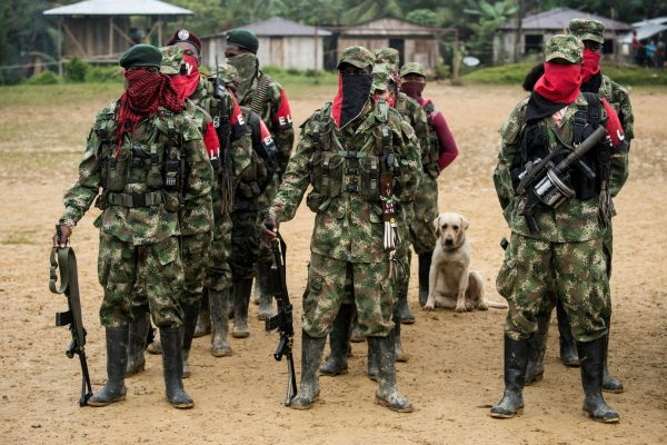 Members of the National Liberation Army (ELN) guerrilla receive instructions.