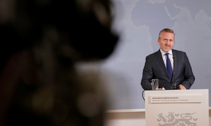 Danish Foreign Minister Anders Samuelsen during a news conference in Copenhagen, Denmark,  on Oct. 30, 2018. (Martin Sylvest/Ritzau Scanpix/via Reuters)