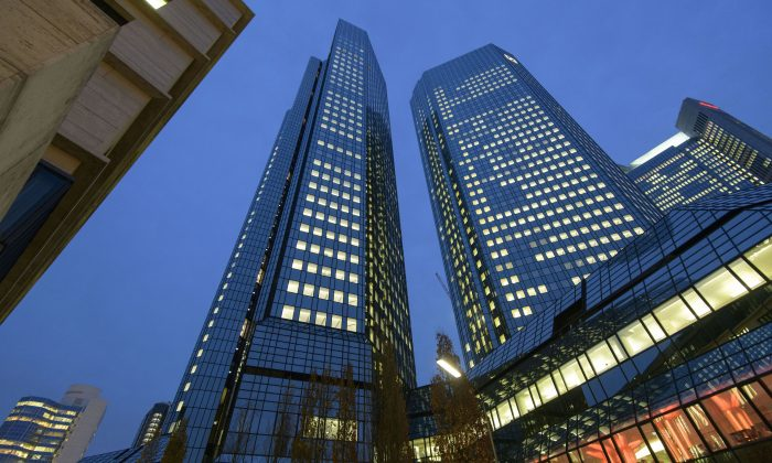 The corporate headquarters of Deutsche Bank in Frankfurt, Germany, on Nov. 29, 2018. German law enforcement and tax authorities raided the offices over suspicions of tax evasion and money laundering. (Thomas Lohnes/Getty Images)