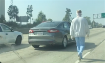 'Not a Prank': Bandaged Man Walks on Los Angeles Freeway Carrying a Knife