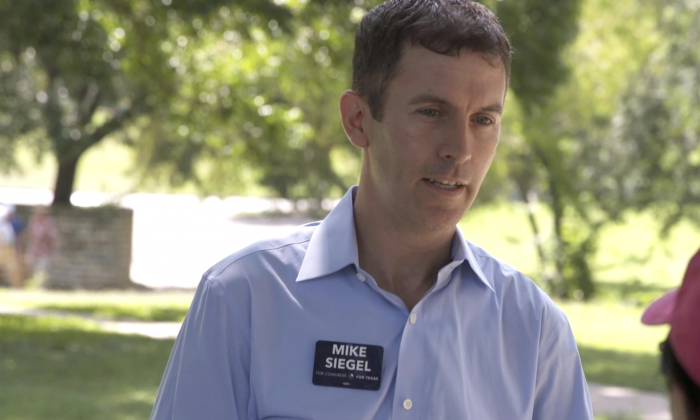 Mike Siegel, the son of former leader of the pro-China Communist Workers Party (CWP) Dan Siegel, in a campaign image. (siegelfortexas.org)