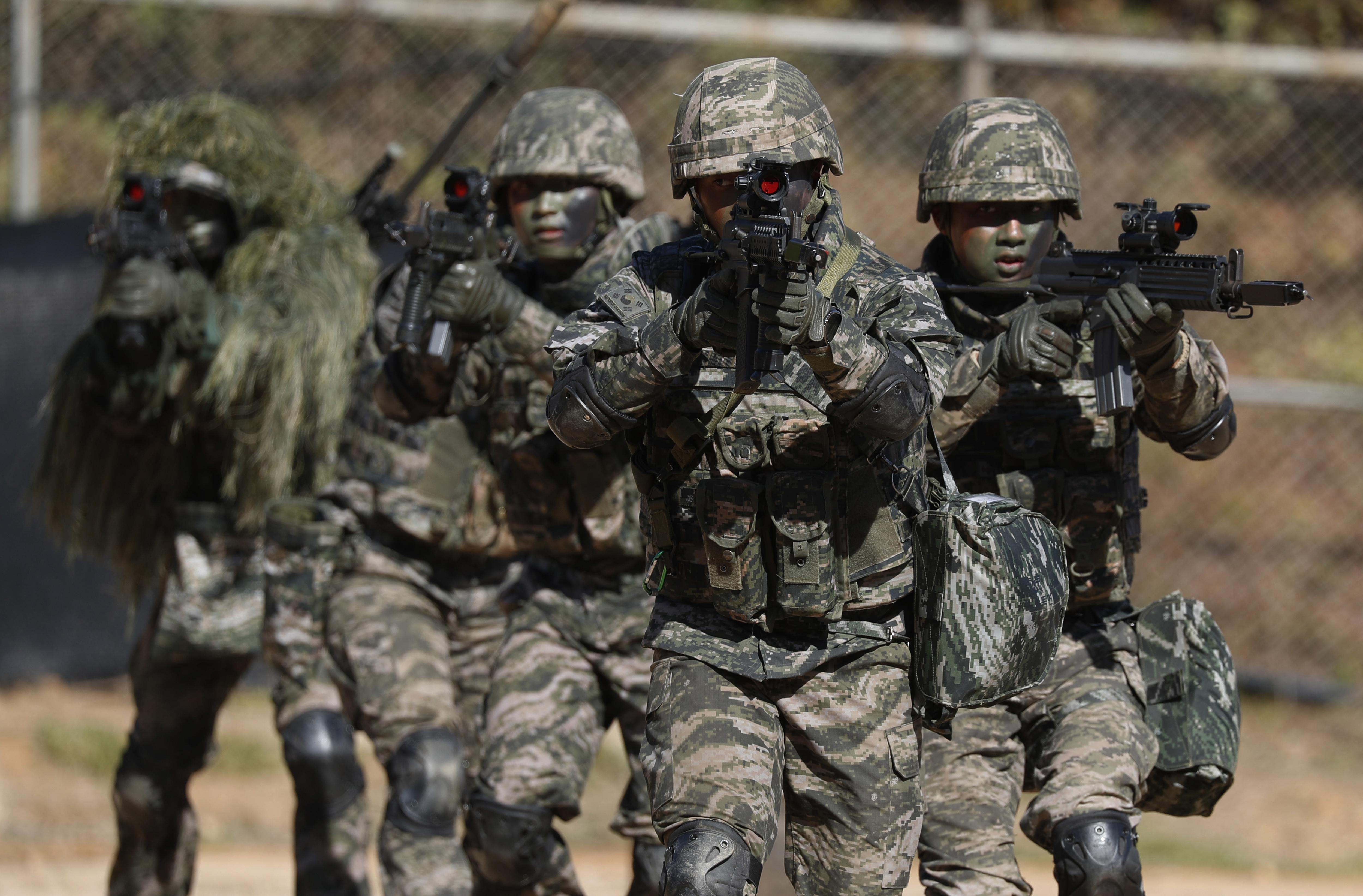 South Korea marines regular drill
