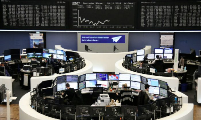 The German share price index DAX graph is pictured at the stock exchange in Frankfurt, Germany, on Oct. 26, 2018.(Staff/Reuters)