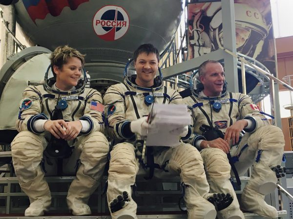 (L-R) Astronauts Anne McClain, Oleg Kononenko, and David Saint-Jacques at the Gagarin Cosmonaut Training Center