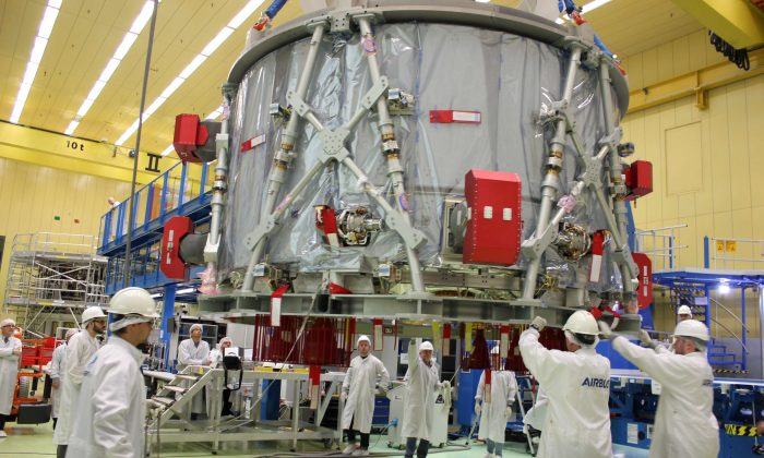 "Airbus staff prepares the European Service Module (ESM) for the U.S. spacecraft ""Orion"" in Bremen, Germany, on Nov. 1, 2018. (Airbus/Handout via Reuters)"