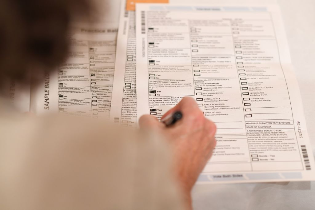 California voter completes ballot.