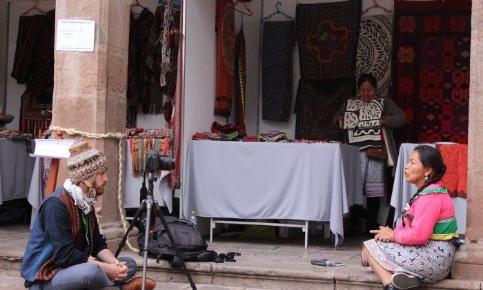 Daniel Bogre Udell (L) records a textile artist, named Luz, speaking a language from the Amazon called Shipibo, in Peru. (Courtesy of Daniel Bogre) Udell/Wikitongues)
