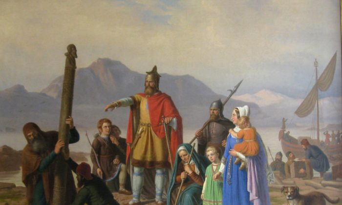 """One saga tells a story about Ingolfr Arnarson, considered the first settler of Iceland. """"Ingolfr Takes Possession of Iceland,"""" 1850, by Johan Peter Raadsig."""