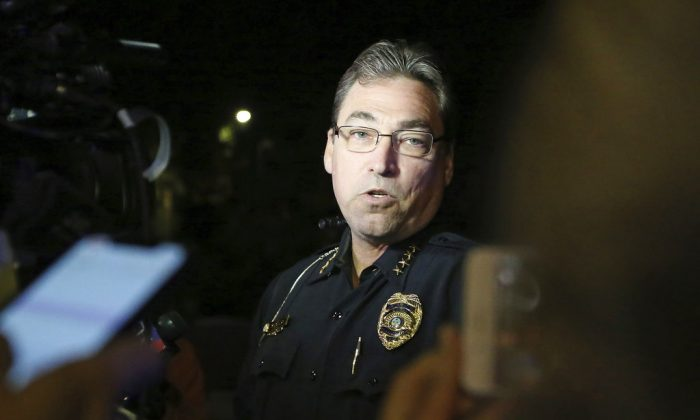 Tallahassee police chief Michael DeLeo speaks to the press at the scene of a shooting in Tallahassee, Fla., Nov. 2, 2018, (AP Photo/Steve Cannon)