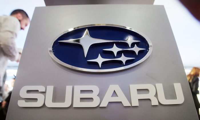 A Subaru logo at the New York International Auto Show on April 5, 2007. (Mario Tama/Getty Images)