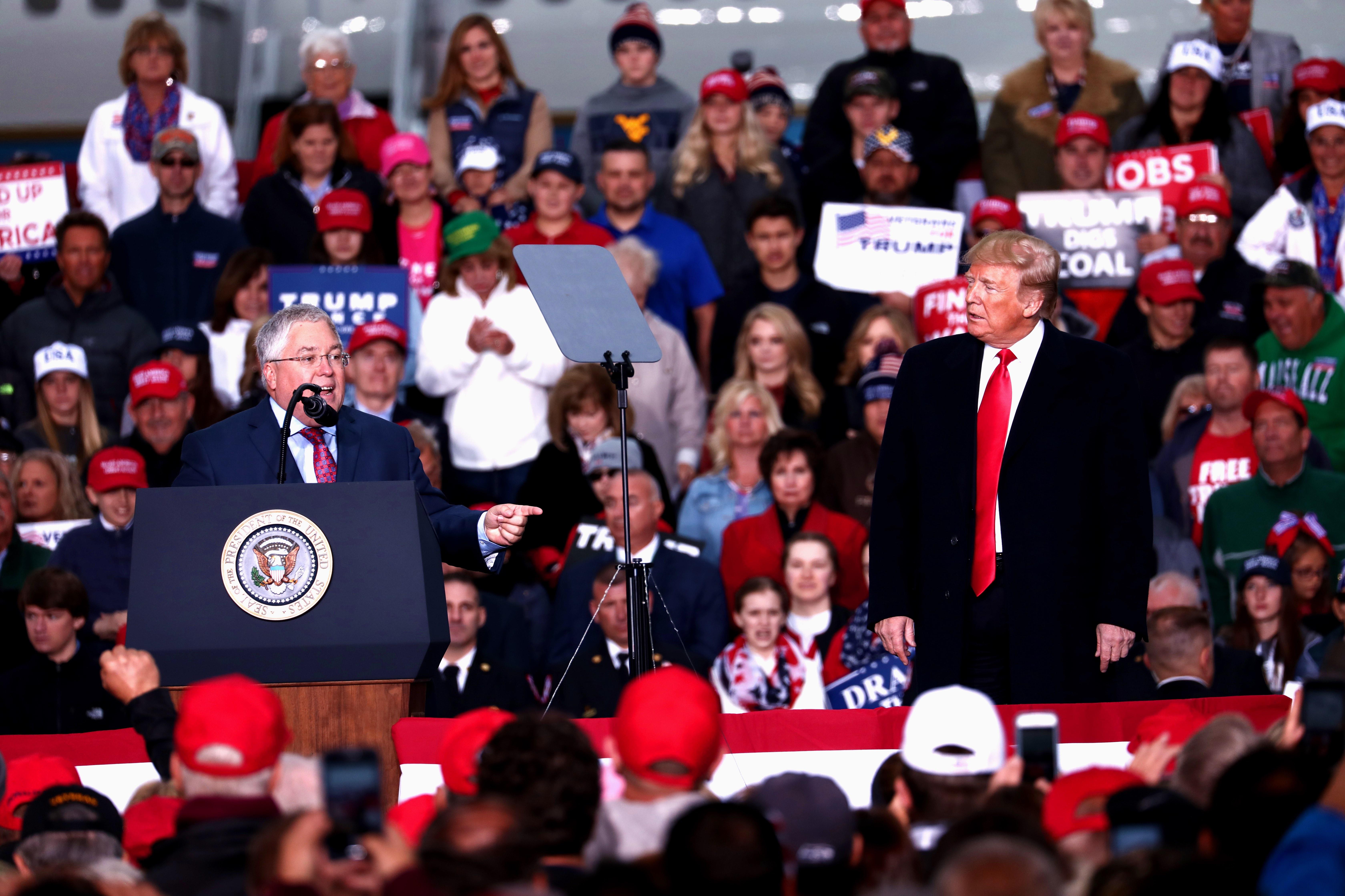 GOP Senate candidate Patrick Morrisey and President Donald Trump