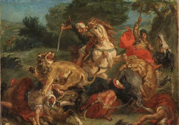 Lion Hunt by Eugène Delacroix. (Nationalmuseum)
