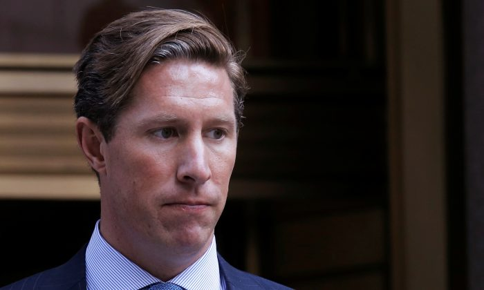 Former Perella Weinberg investment banker Sean Stewart exits the Manhattan federal court house in New York City on July 27, 2016. (Reuters/Brendan McDermid/File Photo)