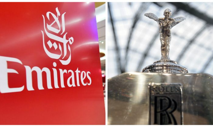 (R) Emirates logo (Giuseppe Cacace/AFP/Getty Images) and (L) Rolls Royce logo on a car(Antoine Antoniol/Getty Images)