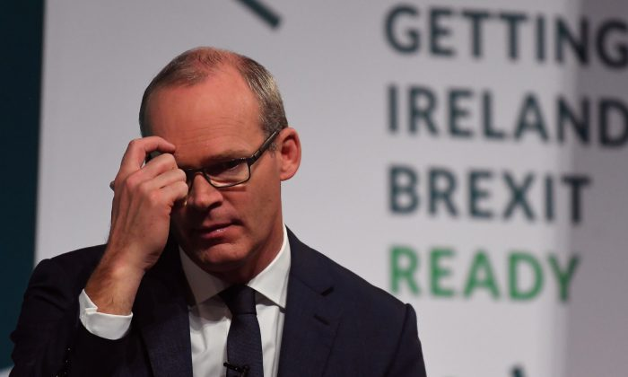 Ireland's Minister for Foreign Affairs and Trade, Simon Coveney, speaks at a 'Getting Ireland Brexit Ready' workshop at the Convention Centre in Dublin, Ireland, on Oct. 25, 2018. (Clodagh Kilcoyne/Reuters)