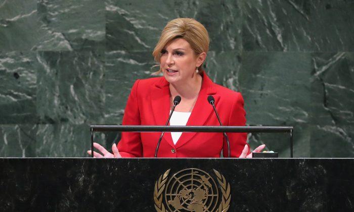 President of Croatia Kolinda Grabar-Kitarovic addresses the United Nations General Assembly on Sept. 26, 2018 in New York City. (John Moore/Getty Images)